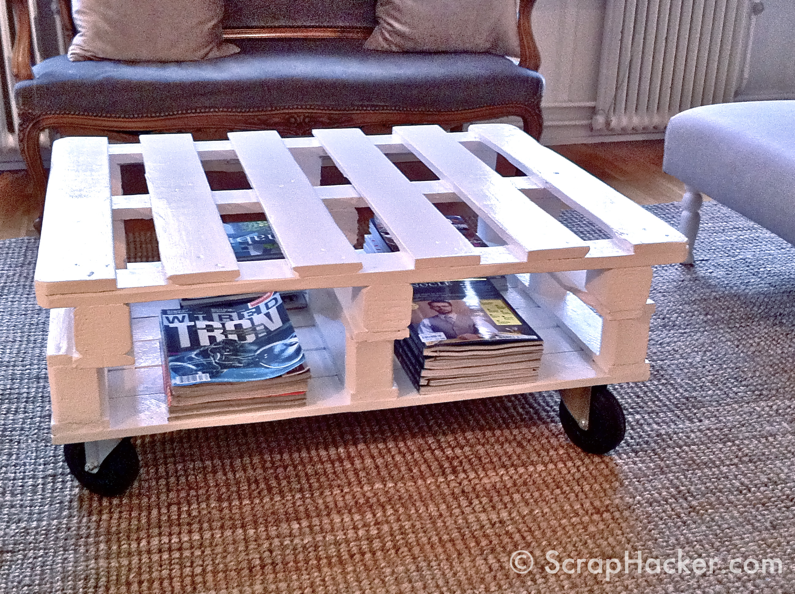 Pallet furniture coffee table - Great Storage For A Magazine Addict