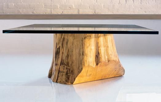 Glass topped log table