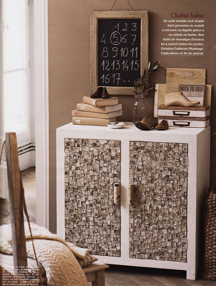 Cupboard with Birch Bark
