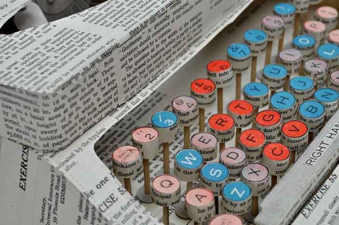 Detail - Paper Art Typewriter by Jennifer Collier