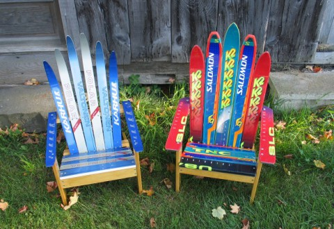 Recycled Ski Adirondack Chairs