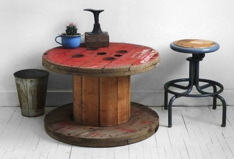 vintage spool coffee table crop