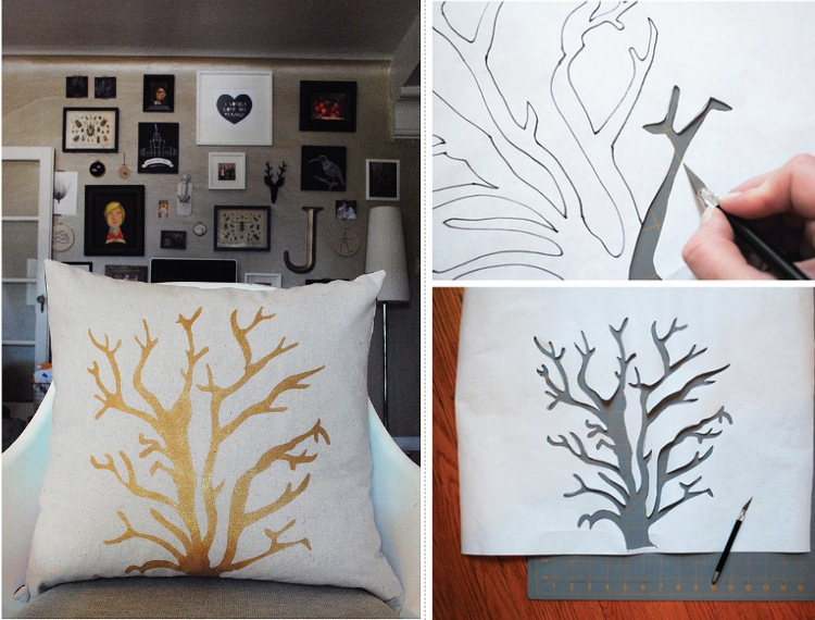 Golden Coral & Top 10+ DIY ideas for Stenciled Pillows pillowsntoast.com