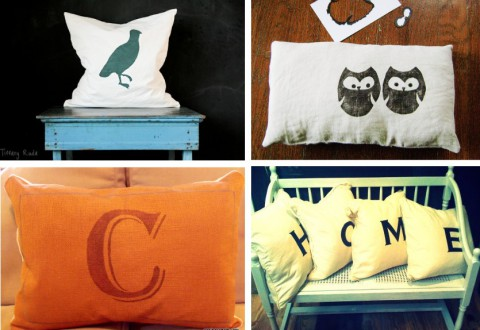 Collage of Stenciled Pillow