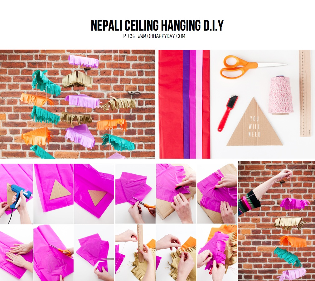 Diy Project Party Diy The Nepali Ceiling Diy Project From Ohhappydaycom