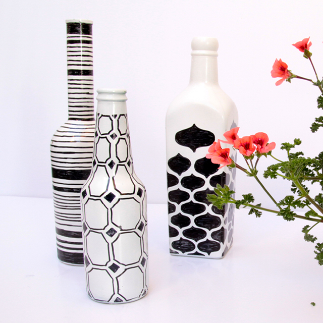 diy painted graphic wine bottles. Black Bedroom Furniture Sets. Home Design Ideas