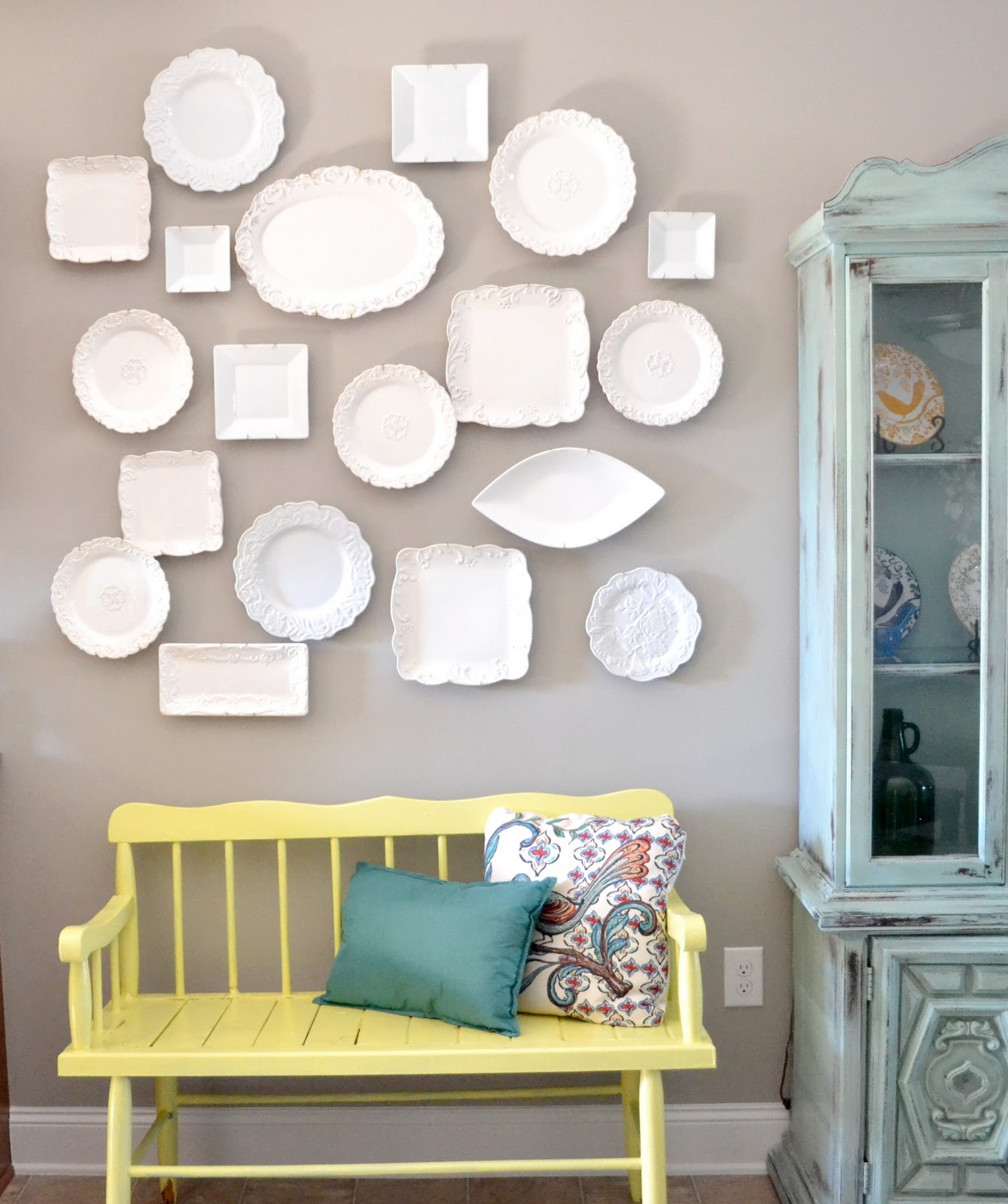 Diy plate wall inspiration tutorial for White kitchen wall decor