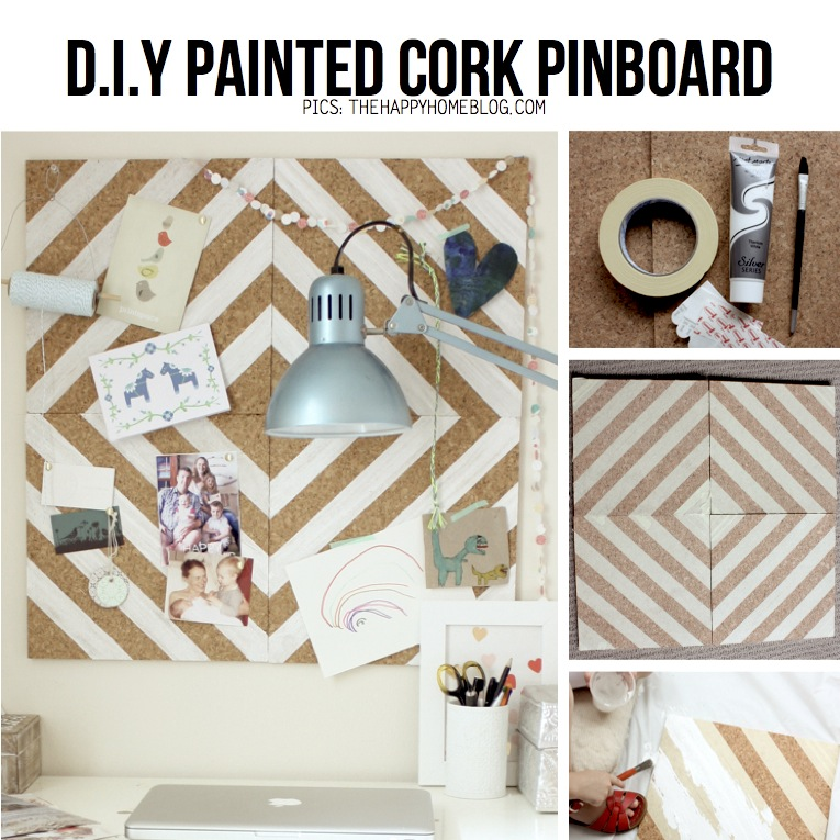 Half painted diy diy stripes chevron triangles on wood for Painted cork board ideas