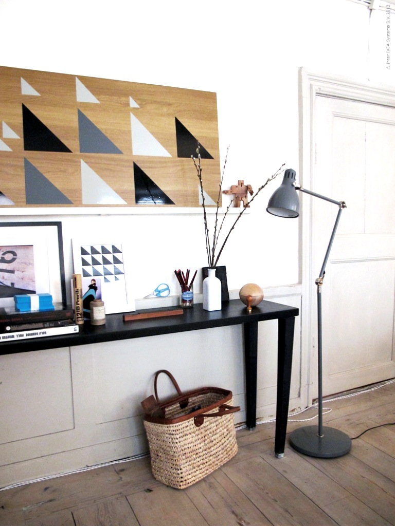 half painted diy diy stripes chevron triangles on wood. Black Bedroom Furniture Sets. Home Design Ideas