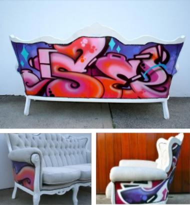 shining inspiration soccer furniture. via here Graffiti  Scribbles on Furniture DIY Inspiration