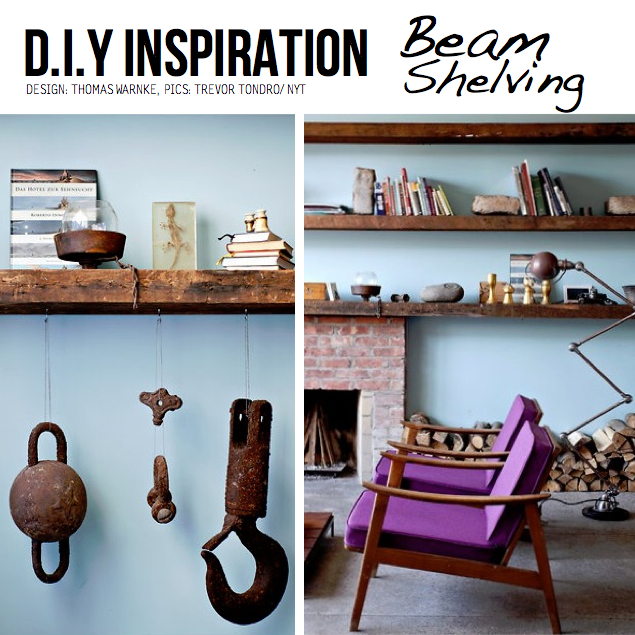 DIY Ideas amp Tutorials for Salvaged Wooden Beams : beam shelving from scraphacker.com size 635 x 635 jpeg 431kB