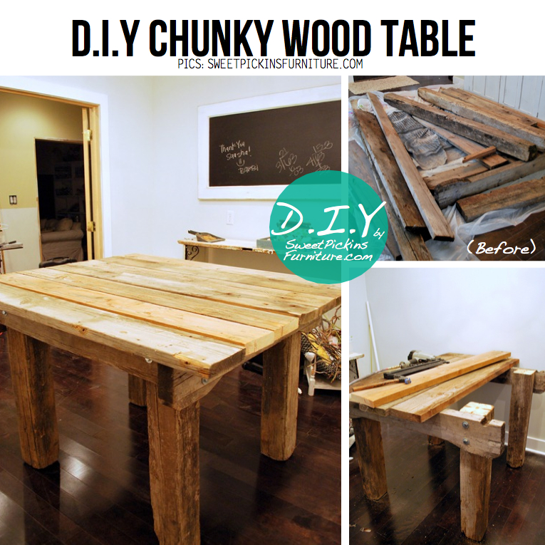 Chunky Wood DIY Table from SweetPickins a.k.a Show & Tell, DIY ...