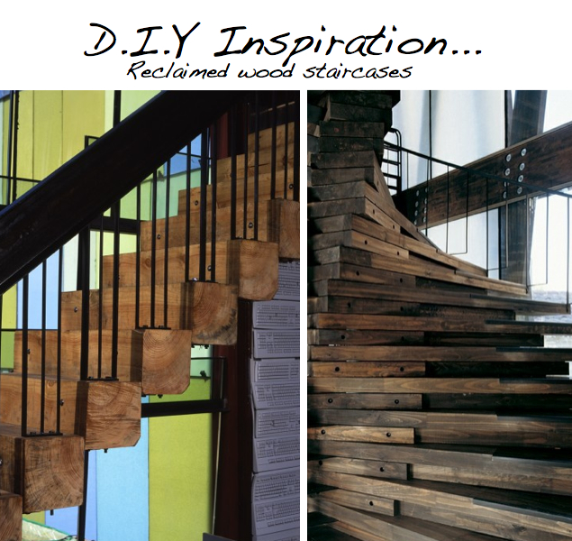 DIY Ideas amp Tutorials for Salvaged Wooden Beams : stairs from scraphacker.com size 635 x 600 jpeg 406kB