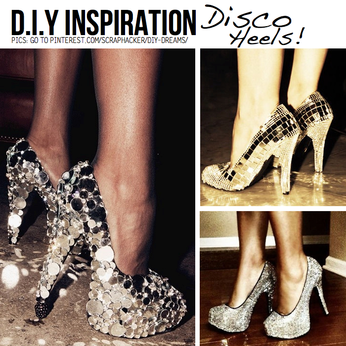 Diy for disco divas 10 diy ideas tutorials add sequins glitter glue and youre good to trot off in a set of diy disco heels get started with this tutorial from lovemaegan psst solutioingenieria Image collections