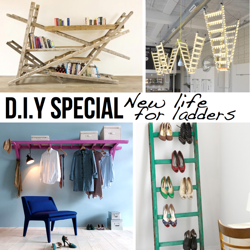 New life for ladders 10 diy ideas tutorials for Old wooden ladder projects