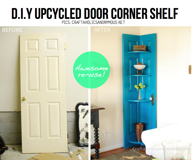 Creative ideas for your home Upcycled-door-shelf